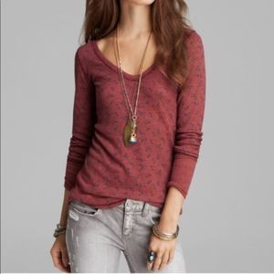 We The Free Maroon Floral Print Thermal V Neck Top